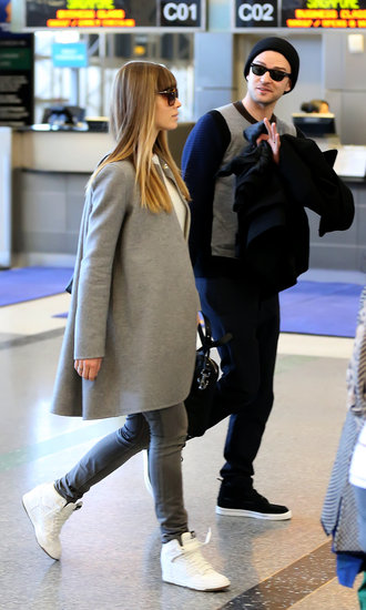 Justin Timberlake and Jessica Biel flew out of LAX.