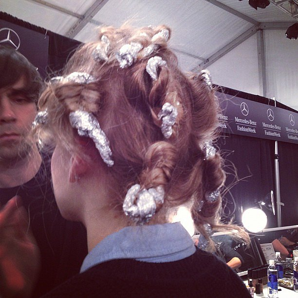 Ted Gibson put kitchen basics to good use with these aluminum foil curls at Lela Rose.