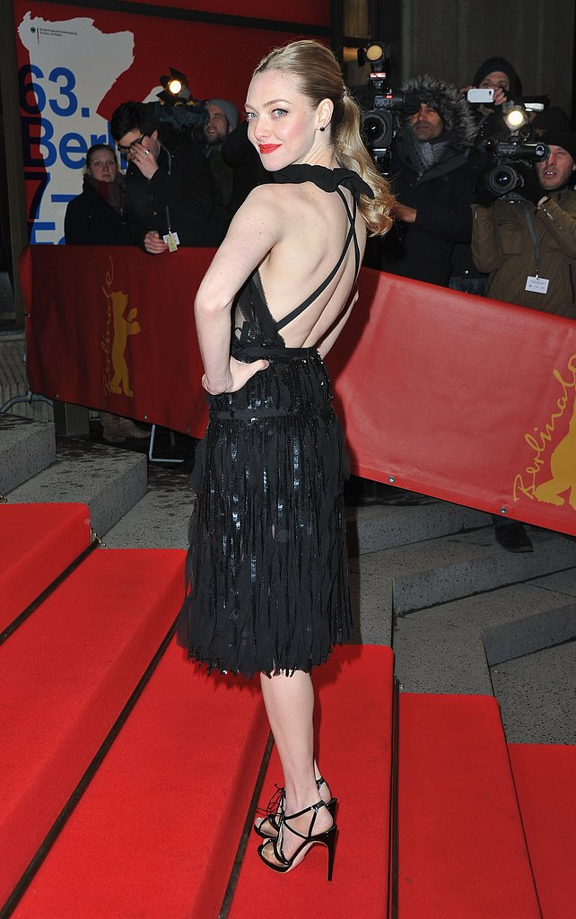 Amanda Seyfried wore black to the Les Misérables premiere in Berlin.