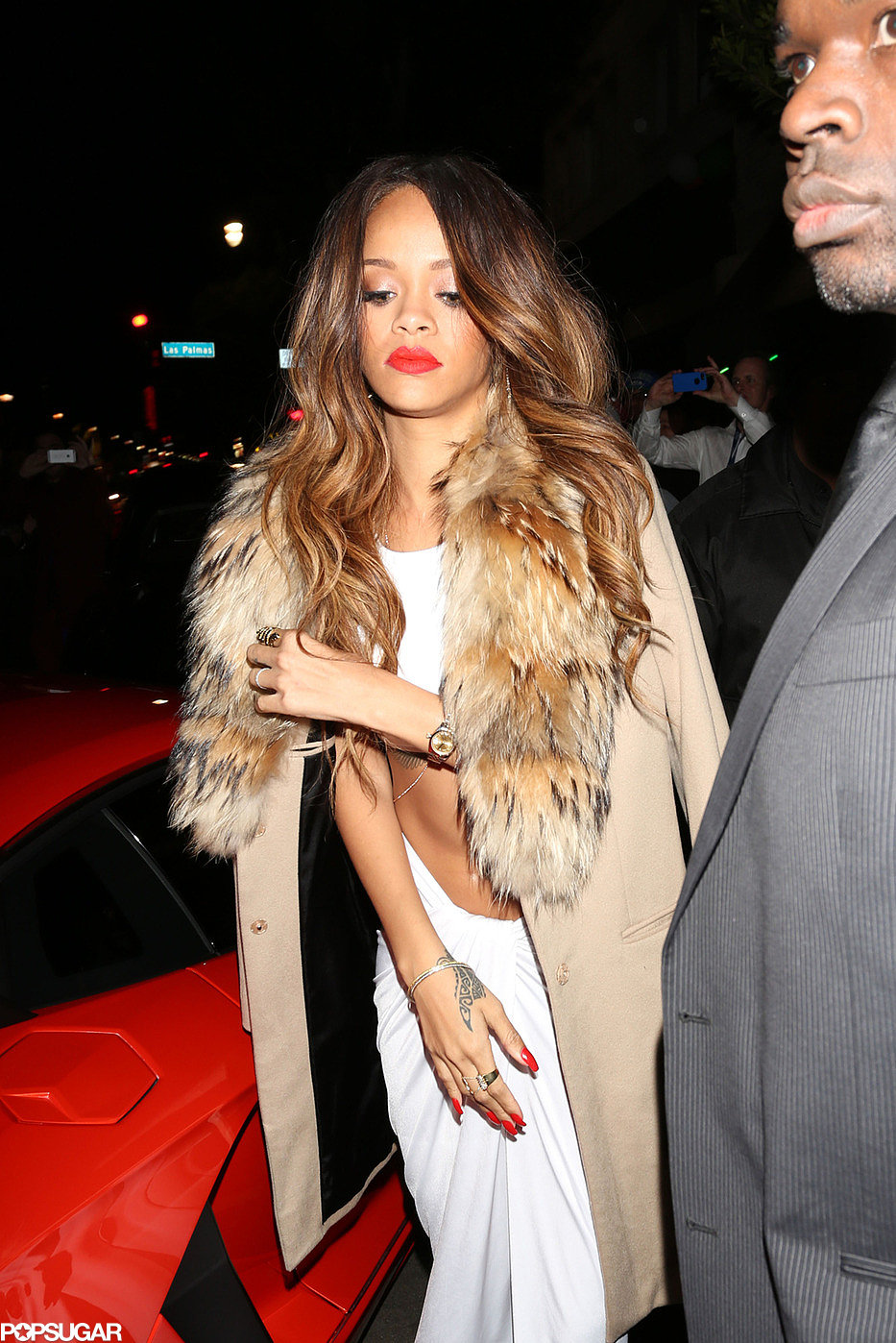 Rihanna attended a Grammys afterparty in a white dress.