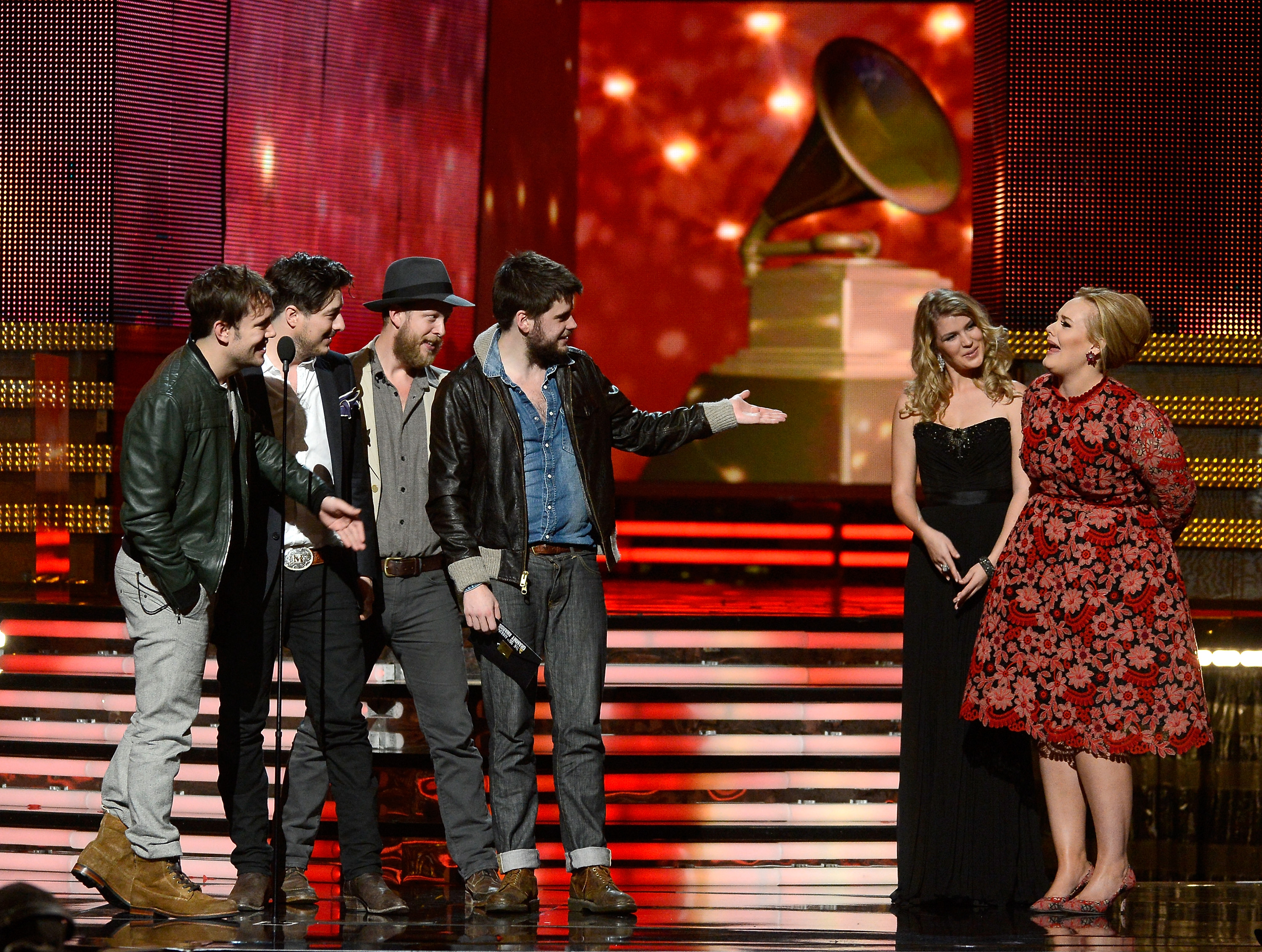 Adele joked around with Mumford & Sons onstage.