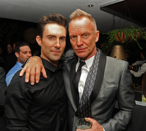 Sting and Adam Levine hung out at the Maroon 5 Grammys afterparty.