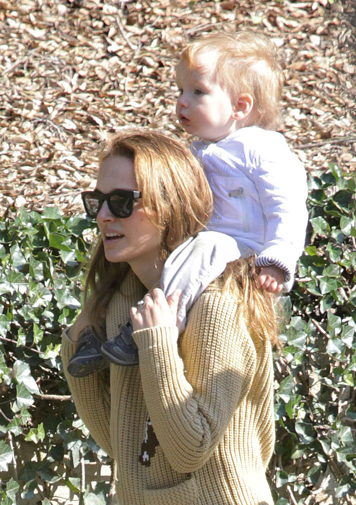 Natalie Portman carried her son Aleph Millepied on her shoulders for an afternoon out at Huntington Botanical Gardens in Pasadena.