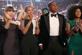 Jessica Biel, Beyoncé Knowles, Jay-Z, and Solange Knowles rocked out in the audience.