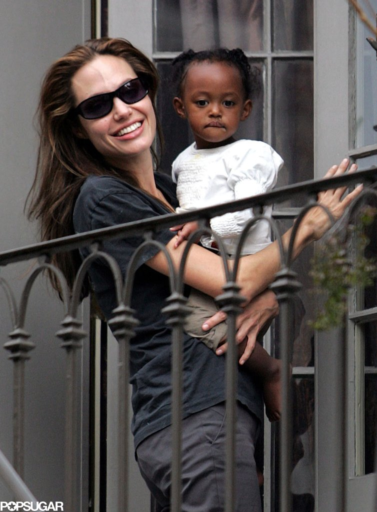 Angelina Jolie brought Zahara onto the balcony of their New Orleans home to watch the 2007 Mardi Gras crowd.