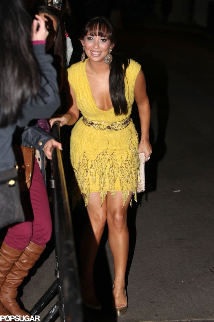 Cheryl Burke wore a yellow fringe dress to a Grammys afterparty.