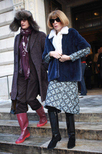 Hamish Bowles and Anna Wintour bundled up in their respective furs — and came ready for the inclement weather with slick boots.