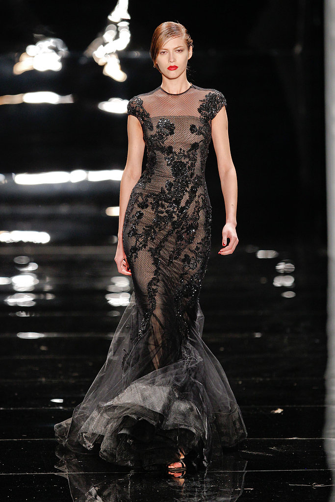 Reem Acra's Fall 2013 gowns were nothing short of fabulous — we could easily see this sheer embroidered mermaid-hem dress on any of Oscar night's lovely ladies.