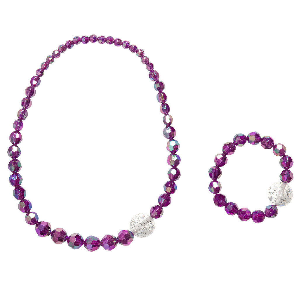 For a kid-friendly bead option, go with this simple purple beaded necklace and bracelet ($4).