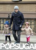Matthew Broderick held hands with his twins, Loretta Broderick and Tabitha Broderick, on a stroll around their West Village neighborhood in NYC.