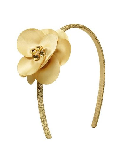 Add a touch of gold with this sweet glitter flower headband ($10).