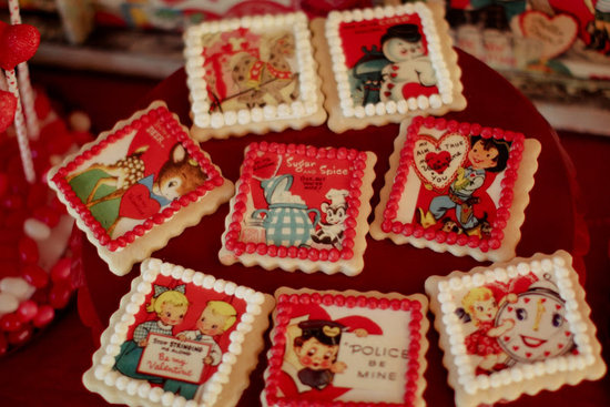 The party was based on vintage valentines, and the cookies represented the theme perfectly.  Source: Jenny Cookies