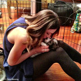 Katharine McPhee cuddled with a pup on the set of Smash. Source: Debra Messing on WhoSay