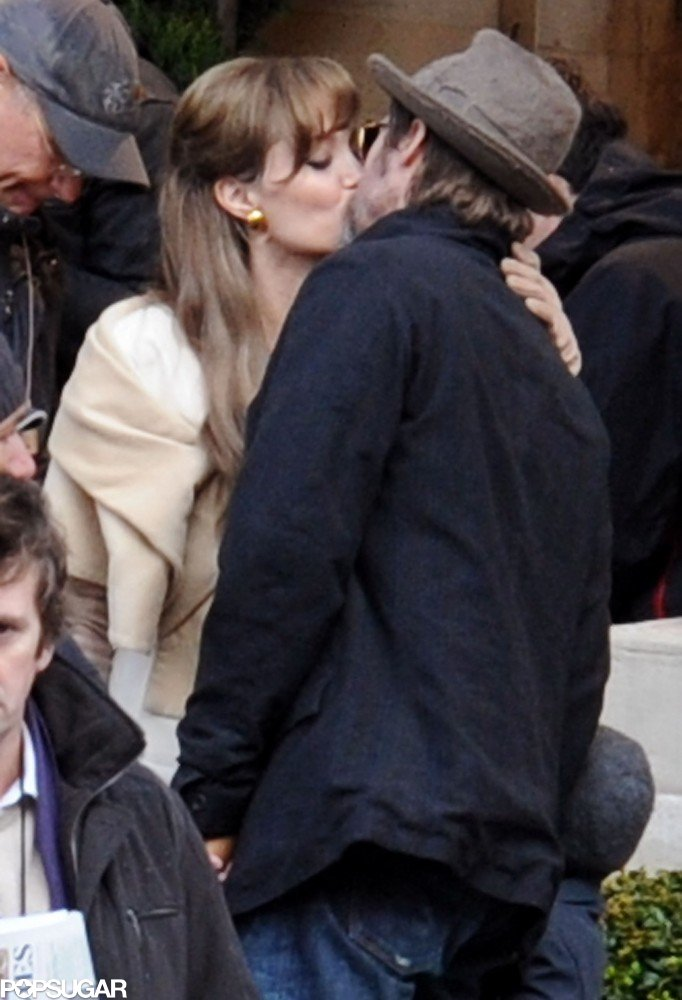 In February 2010, Brad and Angelina shared a kiss while he visited her on the set of The Tourist in Paris.
