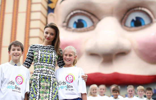 Miranda Kerr wore a printed dress in Sydney.