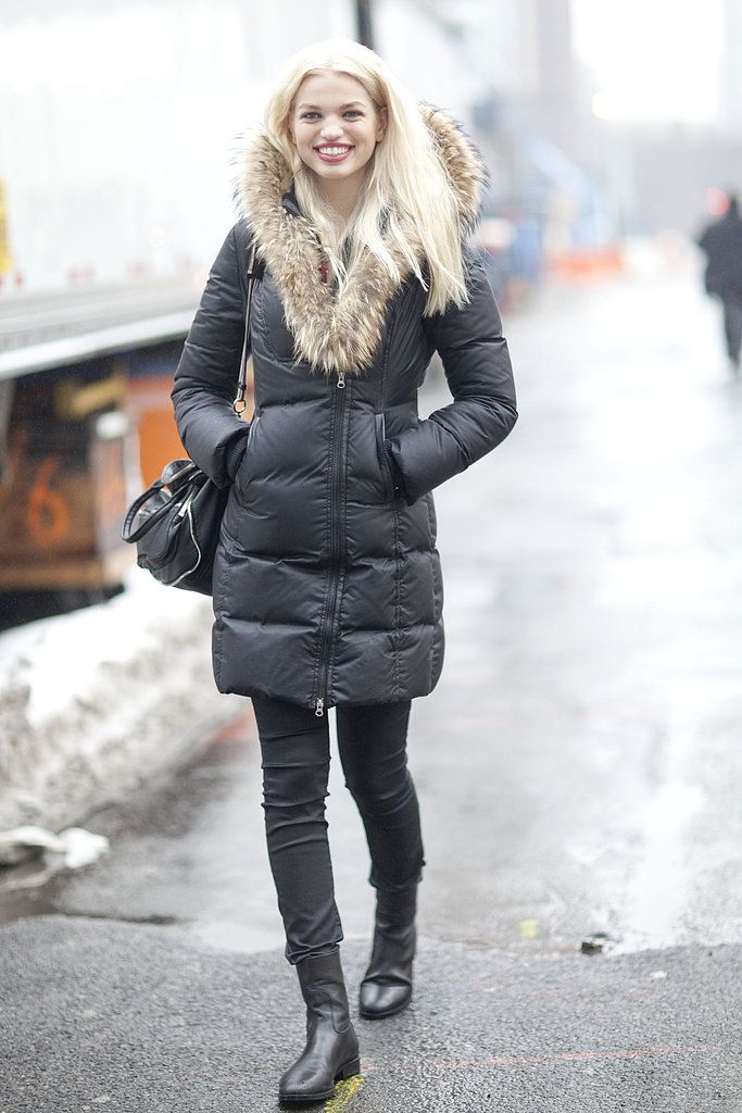This is Winter style at its most functional — and still stylish — with a fur-collared puffer.