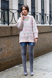 Miroslava Duma added some serious wow factor to a soft sweater with over-the-knee boots.