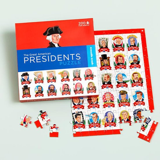 Presidents meet playtime when kids put together this puzzle of pictures and facts ($14) about each American leader.