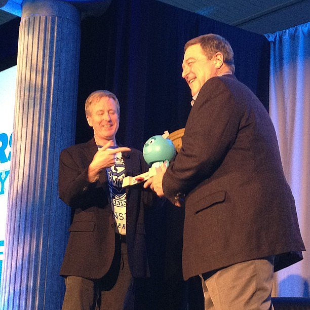 John Goodman was presented with a toy from the collection that bears his voice.
