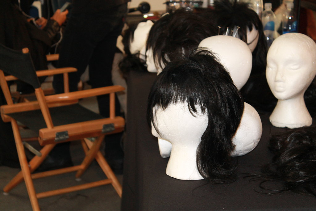 """The hair is supposed to look really skank and nasty, but we obviously don't want to ruin their hair,"" Souleiman said. Instead, he and his team repurposed old wigs into punk-rock-style hair pieces."