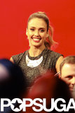 "Jessica Alba smiled at her fans waiting to get ""kisses"" from her."