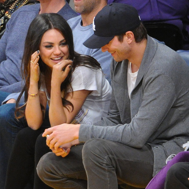 Ashton Kutcher and Mila Kunis Show PDA at Lakers Game