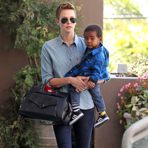 Charlize Theron Takes Son Jackson to the Gym in LA