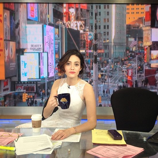 Emmy Rossum assumed the role of a stylish Good Morning America host. Source: Instagram user emmyrossum