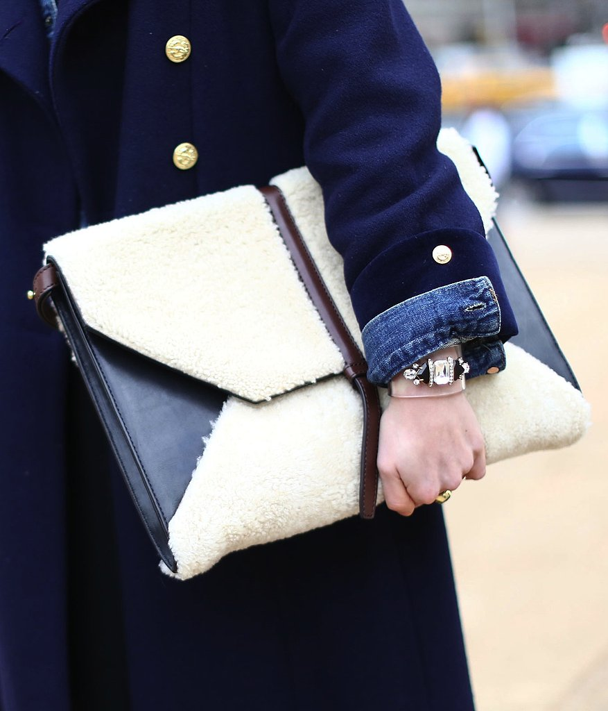 Shearling added a cozy touch to this leather portfolio.
