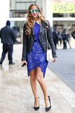 Refinery 29's Annie Georgia Greenberg braved the cold in a beautiful blue-on-blue ensemble that popped against a cool leather jacket.