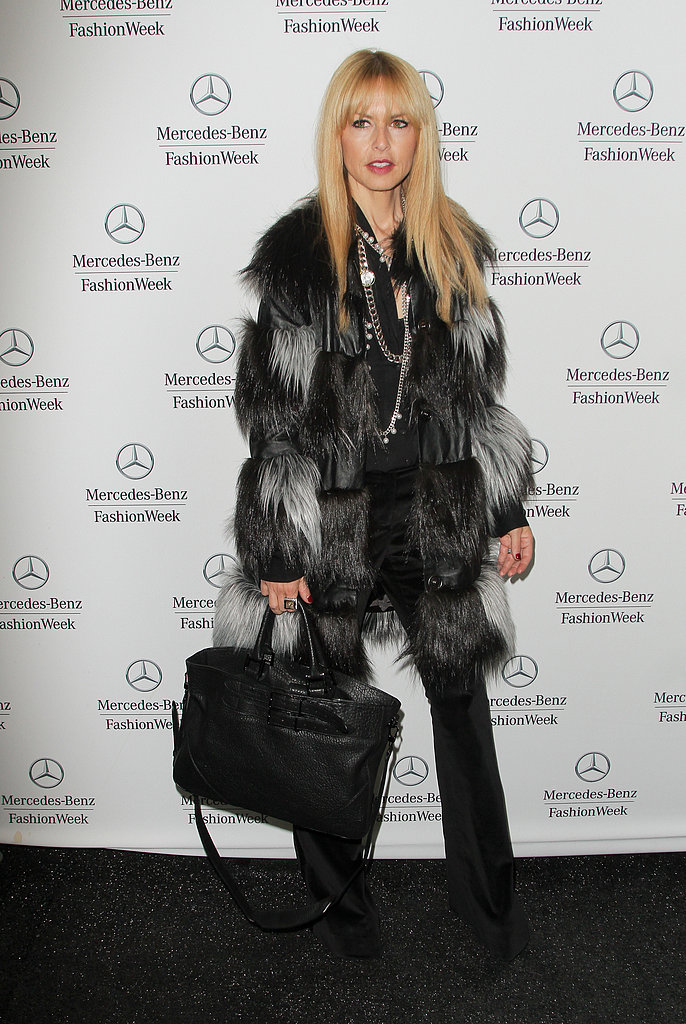Rachel Zoe worked an ombré fur coat with velvet trousers and a few gorgeous baubles while walking around Lincoln Center.