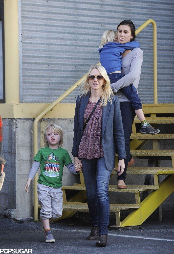 Naomi Watts held hands with Kai Schreiber, who was a cute Paul Frank t-shirt, while Sasha Schreiber got a lift.