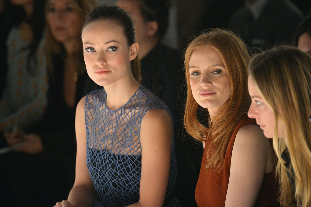 Olivia Wilde and Jessica Chastain sat in the front row at the Calvin Klein show on Thursday at NYFW.