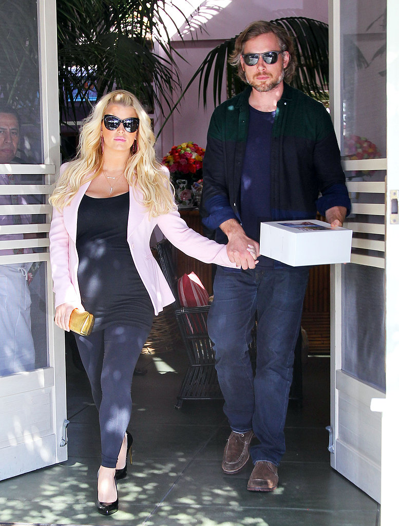 Jessica Simpson and Eric Johnson were hand in hand leaving a Valentine's Day lunch date in LA.
