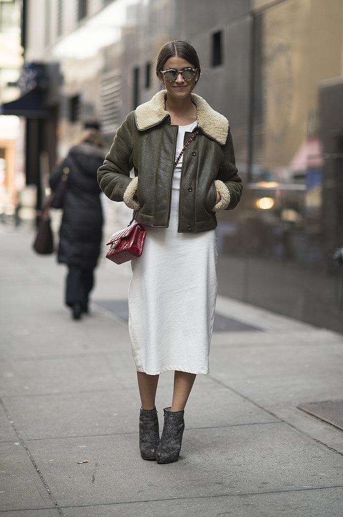 We love the juxtaposition between cozy shearling and a crisp white dress. Source: Le 21ème | Adam Katz Sinding