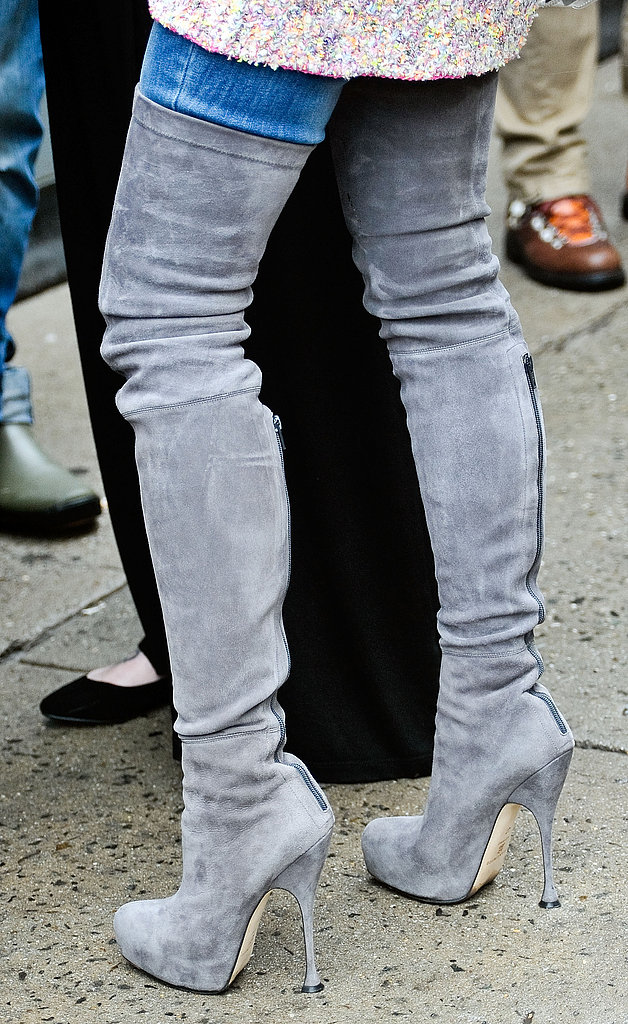 Miroslava Duma's thigh-high suede boots made for one sexy showpiece.