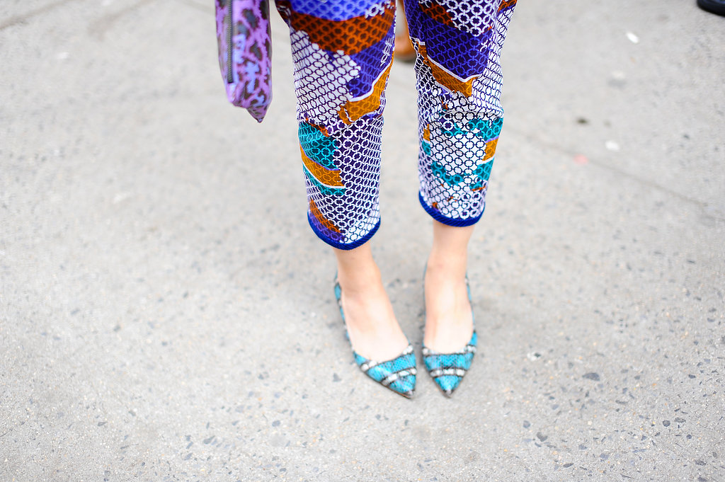 Susie Bubble furthered the print on her pants with print on her footwear.