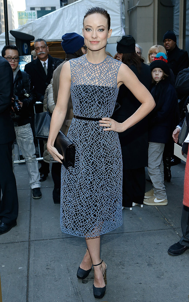 Olivia Wilde ditched her denim for a sleeveless cobweb-inspired dress that exuded ladylike glamour at Calvin Klein.