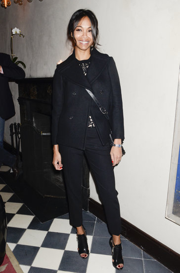 Zoe Saldana chose all black in a black peacoat, lace sweatshirt, and peep-toe booties at the Gents launch party during NYFW.