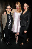 Actresses Nicole LaLiberte and Shailene Woodley struck a fierce pose with Christian Siriano at the designer's afterparty.