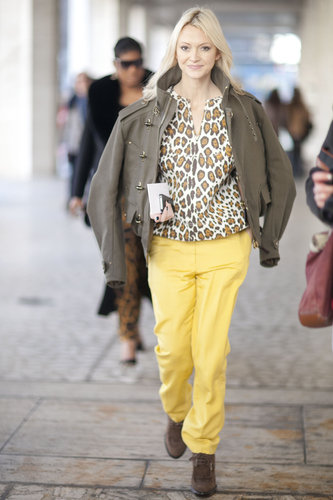 Zanna Roberts Rassi pared down leopard print with easy trousers and a military-style jacket.