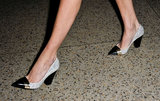 The most ladylike of cap-toe heels seen walking out of Oscar de la Renta.