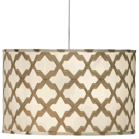 Pull off a retro vibe, thanks to this drum pendant shade ($345) in a lovely lattice design.