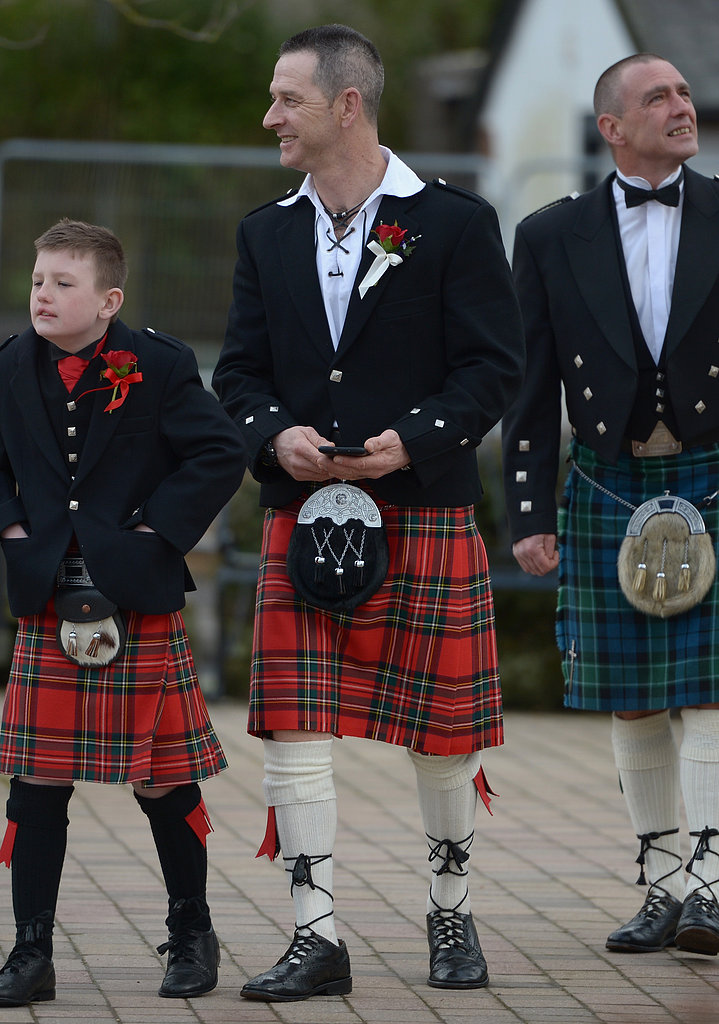 Men in kilts prepared for a V-Day wedding.