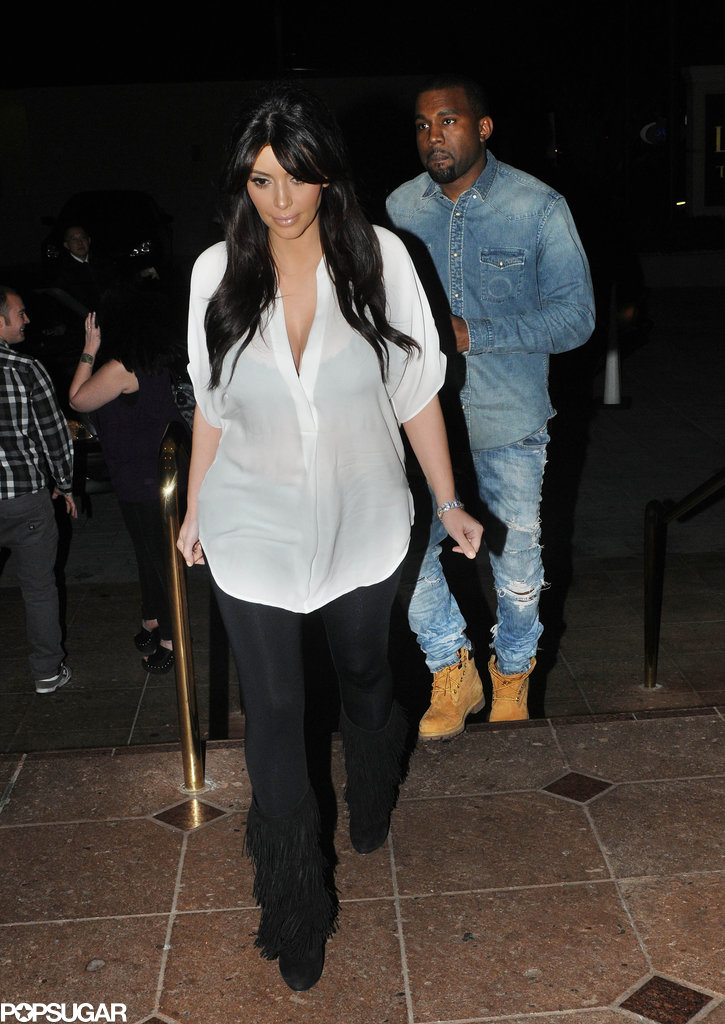 Kim Kardashian and Kanye West on a dinner date for Valentine's Day.