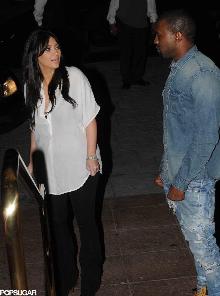 Kim Kardashian and Kanye West left Lawry's restaurant after a Valentine's date in LA.