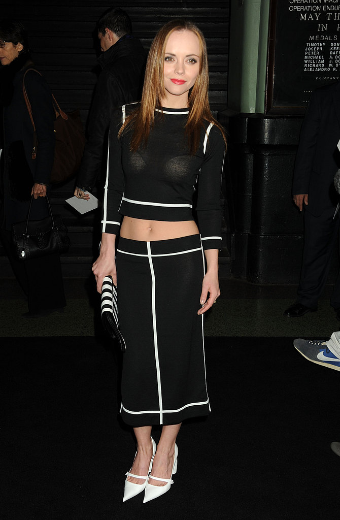 Christina Ricci wore a midriff-baring top for the Marc Jacobs show in NYC in February.