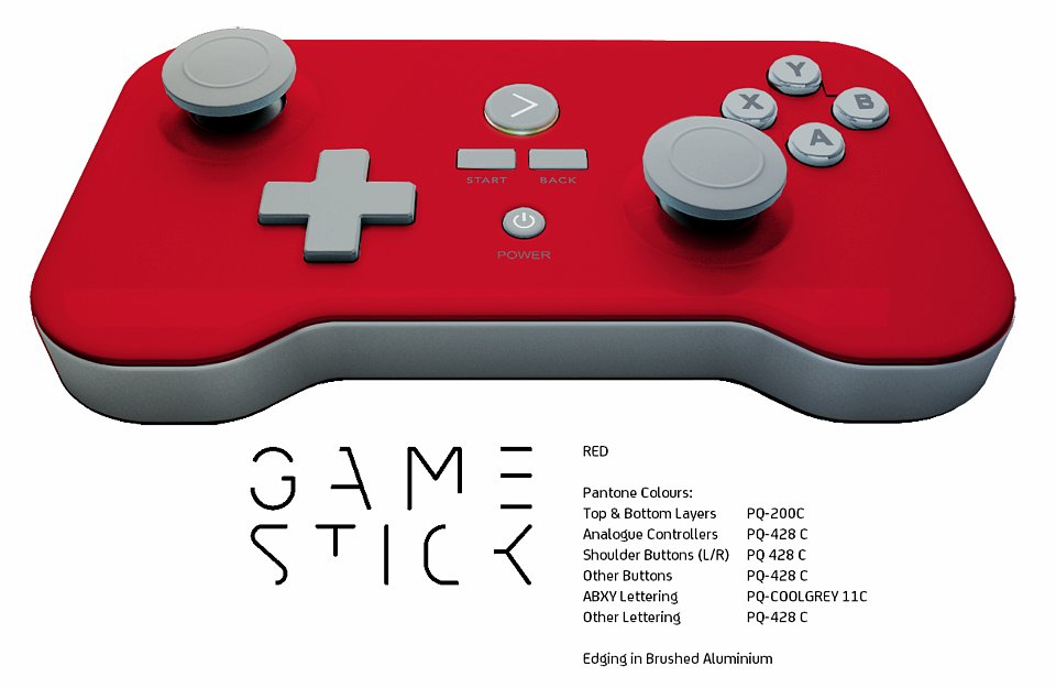 "The GameStick in ""Totally Red-ical,"" with brushed aluminum edging."