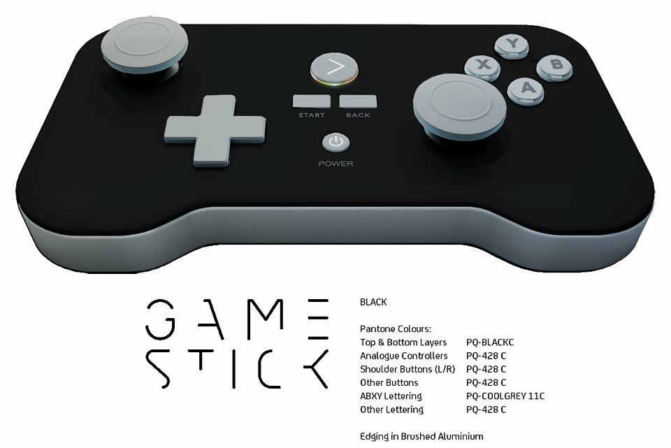 The GameStick comes in black, with brushed aluminum edging.