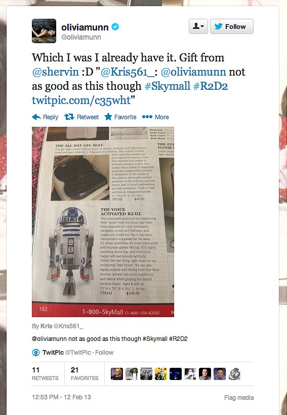 Actress Olivia Munn apparently owns a voice-activated R2-D2.